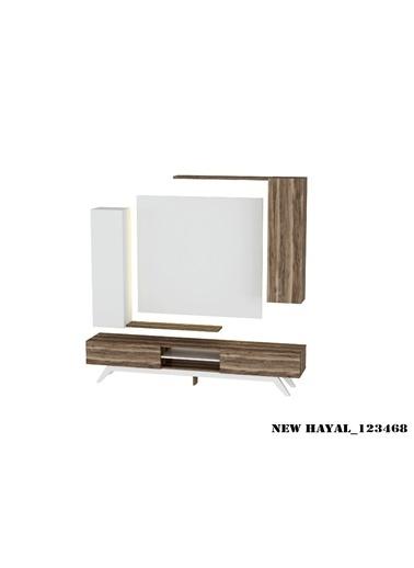 Sanal Mobilya Hayal 123468 Tv Ünitesi Leon Ceviz/Parlak Beyaz Beyaz
